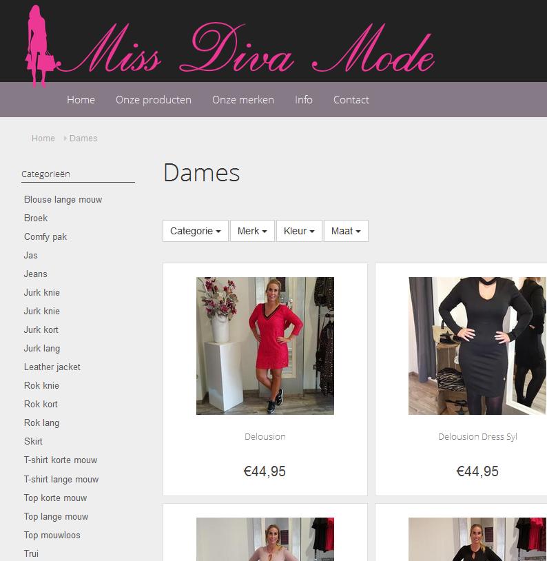 nieuwe webshop voor miss diva mode easypos software d winkelautomatisering voor fashion. Black Bedroom Furniture Sets. Home Design Ideas