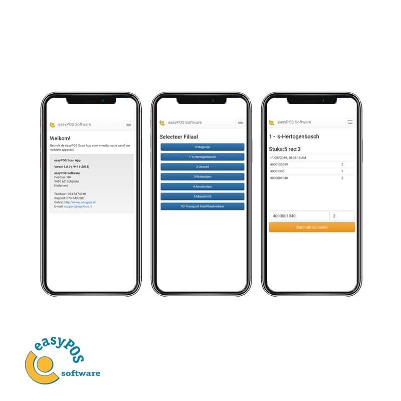 easyPOS Scan App voor inventarisatie op mobiel apparaat