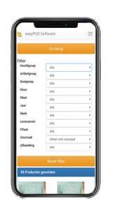 easyPOS Fashion app uitgebreide zoekfilter